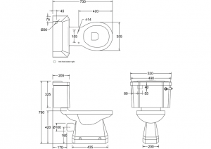 Унитаз-моноблок Burlington P5 JET C1 JET схема