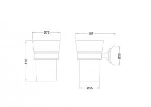 Подвесной стаканчик для щёток Burlington RA50 схема