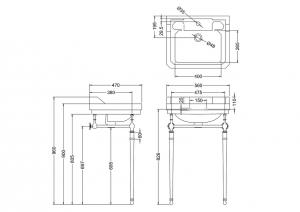 Раковина Edwardian B5 T23A CHR T62 схема