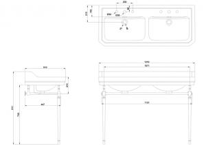 Подстолье с двойной раковиной Edwardian Burlington B21 T51CHR схема