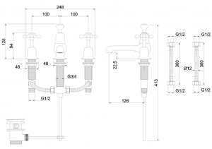 Смеситель Burlington для раковины на три отверстия CL12 GOLD схема