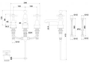 Смеситель Burlington для раковины на три отверстия CLR12 GOLD схема