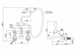 Настенный смеситель Burlington для ванны CLR17 S GOLD схема