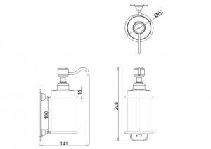 Керамический дозатор Burlington A19 GOLD для жидкого мыла схема