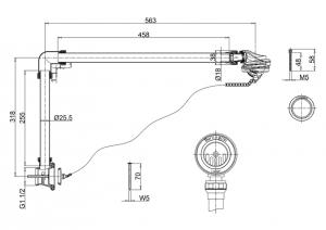 Универсальный слив-перелив Burlington W4/CW4/W5/CW5 GOLD с пробкой и цепочкой схема