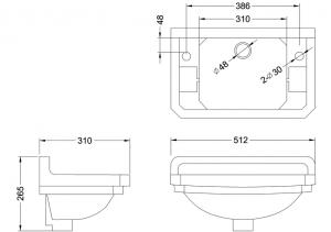 Раковина Edwardian Burlington B8 GREY на 1 отверстие слева или справа схема