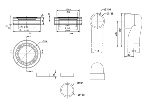 Керамический сифон C26 GREY с выпуском в пол для унитаза Burlington схема