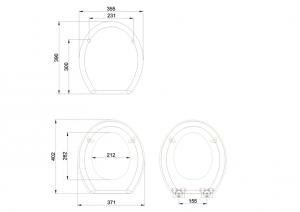 Сиденье с микролифтом для унитаза Burlington S55 GREY GOLD серое матовое схема