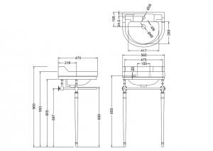 Подстолье с раковиной Edwardian Burlington B6 T24A CHR T62 схема