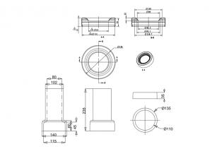Керамический сифон C29 PINK с горизонтальным отводом для унитаза Burlington схема
