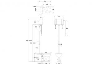 Унитаз с высоким бачком Burlington C28S PINK+T30 CHR+P2 PINK схема