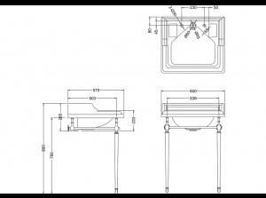 Подстолье с раковиной Burlington B14 T49A CHR схема