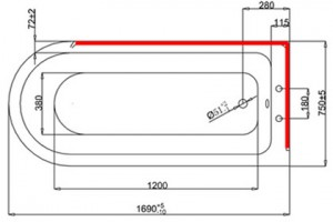 Ванна Burlington Hampton правосторонняя 170x75 E14 L2C схема