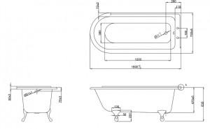 Ванна Burlington Hampton левосторонняя 170x75 E13 E10 WHI схема