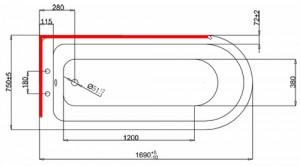 Ванна Burlington Hampton левосторонняя 170x75 E13 L1W схема