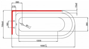 Ванна Burlington Hampton левосторонняя 170x75 E13 L2C схема