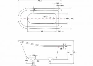 Ванна Burlington Buckingham slipper 150x75 E6 L3W схема