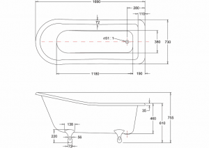 Ванна Burlington Harewood slipper 170x73 E1 E10 CHR схема