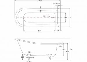 Ванна Burlington Harewood slipper 170x73 E1 L1C схема