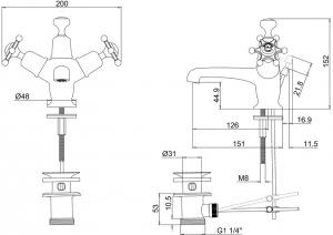 Смеситель Burlington для раковины BI4 схема