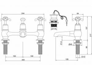 Смеситель Burlington для раковины на два отверстия CL10 схема