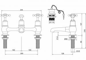 Смеситель Burlington для раковины на два отверстия  BI10 схема