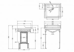 Подстолье с раковиной Burlington Classic B15 T38ALU схема