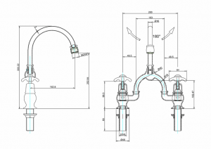 Смеситель Burlington для раковины на два отверстия AN27 W1 схема