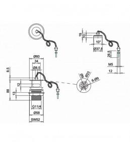 Смеситель Burlington для раковины на два отверстия BI27 W1 схема пробки и цепочки