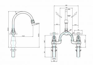Смеситель Burlington для раковины на два отверстия CL28 W9 схема