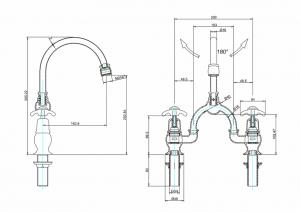 Смеситель Burlington для раковины на два отверстия AN28 W9 схема