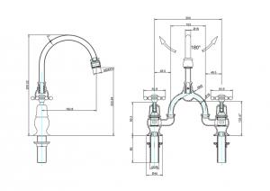 Смеситель Burlington для раковины на два отверстия BI28 W9 схема