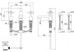 Смеситель Burlington для раковины на три отверстия CL12 схема