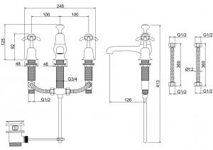 Смеситель Burlington для раковины на три отверстия AN12  схема