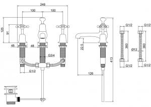 Смеситель Burlington для раковины на три отверстия BI12 схема